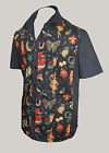 Mens black tattoo rockabilly 50s lounge diner shirt goth psychobilly retro