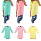 Fashion Women's 3/4 Sleeve Candy Color Long Tops Blouse Loose Pullover T Shirt