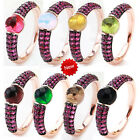 Newest Black & Rose Gold Plated With Rose Zircon Ring Women gift