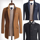 Mens Premium Slm Fit Wool Double Collar Coat Blazer Jacket Jumper E018- XS/S/M/L