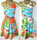 Derhy FranceTamis Dress S-L 10-14 Orange White £89 Bright Floral Tropical Beach