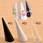 1PC Plastic Finger Cone Ring Stand Jewelry Display Holder White Black Clear New