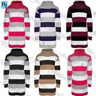 Womens Ladies 3 Colors Blocks Stripes Knit Cowl High Neck Jumper Tunic Dress Top