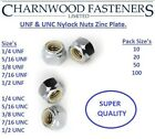 UNF,UNC Nylock Nuts, Zinc Plated, 1/4, 5/16, 3/8, 7/16, 1/2.