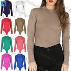 Womens Turtle Polo Neck Bodysuit Ladies Long Sleeve Stretchy Leotard Top UK 8-14