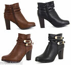 NEW WOMEN LADIES HIGH HEEL CHELSEA DOUBLE BUCKLE STRAP ANKLE CASUAL BOOTS SHOES