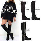 WOMENS LADIES KNEE THIGH HIGH OVER THE KNEE LOW FLAT HEEL STRETCH BOOTS SIZE
