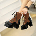 Women Lace Up Round Toe Chunky heels High Platform Motocycle Punk Shoes BootsS65