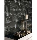 Holden Decor K2- City By Night Landmark - Black & White - Luxury Wallpaper 97670