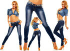 Womens Washed Low Rise Pearls Detailed Slim Skinny Denim Jeans size 14