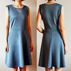 Women's Round Collar Blue Summer OL Knee Length Sleeveless Vest Slim Dress Skirt