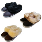 Womens REAL SHEEPSKIN Full Slippers Boots Hard Sole Fluffy Warm Wool 3 4 5 6 7 8
