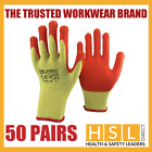 50 PAIRS ORANGE LATEX RUBBER COATED SAFETY WORK GRIPPER GLOVES BUILDER GARDENING
