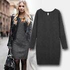 Fashion Women Winter Warm Fleece Dress Casual Long Sleeve Jumper Long Tops #30
