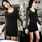 Women's Nightcluv Figure Flattering Sexy Slim Package Hip Long Sleeve Dress