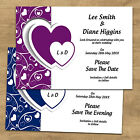 Pink Red Black Purple Heart Personalised Wedding Save The Date Or Evening Cards