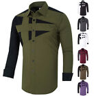 "Button Front Korean Mens Shirt "" LONGER TALL SLIM FIT Long Sleeve DRESS SHIRTS"
