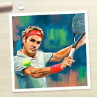 ROGER FEDERER tennis PAINTING poster painting CANVAS ART PRINT (Rolled)