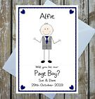 PERSONALISED WILL YOU BE MY PAGE BOY CARD BEST MAN USHER RING BEARER NAME CUTE