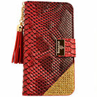 Luxury Snake Skin PU Leather Flip Wallet Purse Case RED for Smartphone Samsung