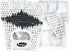 WEIGHT LIFTING GLOVES PAIR,GOAT LEATHER PALM, KNITTED COTTON BACK WHITE & BLACK