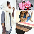 Hottest Style Women's Winter Fleece Scarf Set 3 In 1 Scarf Hat And Gloves Set