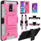 Hybrid Shockproof Holster Belt Clip Hard Case Cover For Samsung Galaxy Note 4 фото