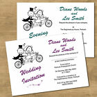 Personalised Day & Evening Wedding Invitations Funny Bike Cycling Bride & Groom