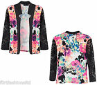 Womens Ladies Flower Print Open Blazer Lace Long Sleeve Contrast Floral Chic New