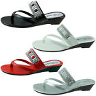 New Womens Sandals Wedge Shoes Low Heels Flip Flops Thong Size 5 to 11 BABY-104