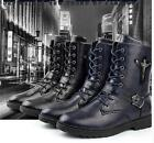 British Men's Combat Leather Lace Up Military Ankle Boots Shoes US Size 6.5-10