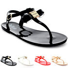 Womens Holiday Diamante Bow Buckle Flip Flops Ankle Strap Summer Sandals UK 3-9
