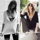 Sexy Womens Long Sleeve Casual Tops Button Down Shirt Blouses Wild Opne Neck