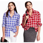 NWT OLD NAVY Women Classic Plaid 100% Cotton Poplin Long Sleeve Button Shirt