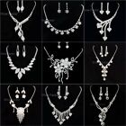 Rhinestone Bridal Bridesmaid Wedding Prom Necklace Earrings Jewellery Set