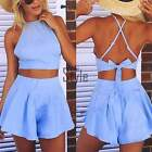 Women Blue Jumpsuit Playsuit Romper Clubwear 2 Pieces Set Sexy Beachwear TXST