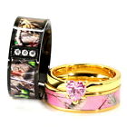 His  Her Black Gold Pink Titanium Camo Heart Sterling Silver Wedding Ring Set