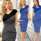 Women new retro Knee-lenght striped bodycon cocktail party tunic Pencil Dress