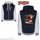 Hot Rod American Ragazza Pin-up Vintage Retro Stile Varsity Felpa Con Cappuccio