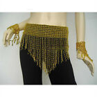 Belly Dance Costume Hip Scarf Elastic Beading Tassels Belt in Gold/Silver