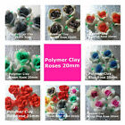 Polymer Clay Roses 20mm Red Blue Black Brown Orange Hot Pink Green Assorted