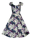 Vintage 40's 50's Blue Butterfly Cotton Damask Full Circle Tea Dress New 8 - 18