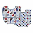 Luvable Friends 2 Pk Baby Bib  Waterproof Backing Pocket Catches Crumbs Velcro