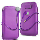 Purple PU Leather Pull Tab Flip Case Cover & Earbud Earphone for Mobile Phones