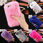 Women Luxury Furry Rabbit Fur Crystal Rhinestone Case Cover For iPhone 6 6S Plus