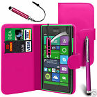 Pink PU Leather Wallet Flip Case Cover, Screen Film & 3 Pens For Various Phones