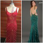 NWT JOVANI SCOP NECK RED GOWN WITH GOLD STUDDEDS $678 SIZE 0,2,4.6 AUTENTIC$229