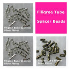 Filigree Tube Spacer Beads 8mm 12mm Silver Plated Brass Plated