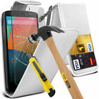 PU Leather Flip Case Cover & Tempered Glass For LG Google Nexus 5