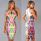 Womens New Sexy Multi Color Floral Round Neck Mesh Inserts Keyhole Dress Rayon